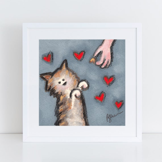 Tabby cat painting with hearts, tabby cat begging for treats, cat art for cat lovers, tabby cat portrait with cat treats, art for my kitchen