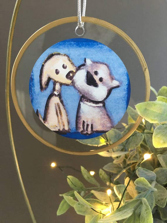 Puppy Kiss Christmas ornament, gift for dog lovers, unique ornament, dogs kissing, gift for vet, bulldog, two dogs in love, illustrated
