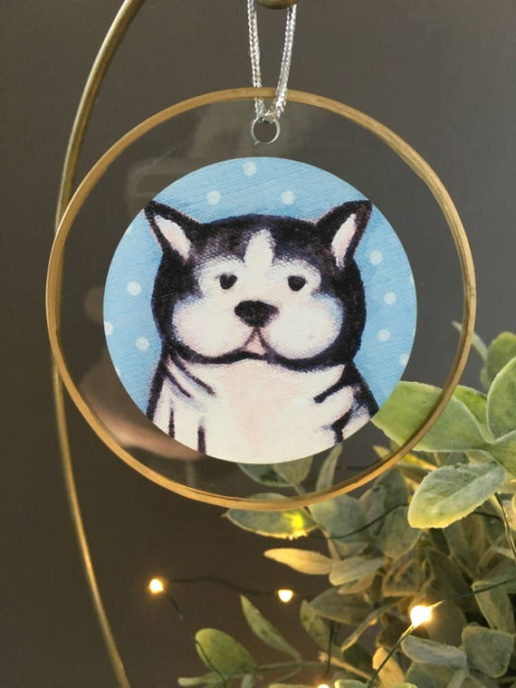 Boston Terrier Christmas ornament, gift for dog lovers, unique ornament, glass ornament, illustrated boston terrier dog gift for vet