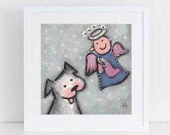 Dog and Angel painting, whimsical angel illustration, big gray dog memorial art, folk art for angel lover, dog with angel, dog sympathy gift