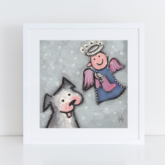 Dog and Angel painting, whimsical angel illustration, big gray dog memorial art, folk art for angel lover, dog with angel, dog sympathy gift