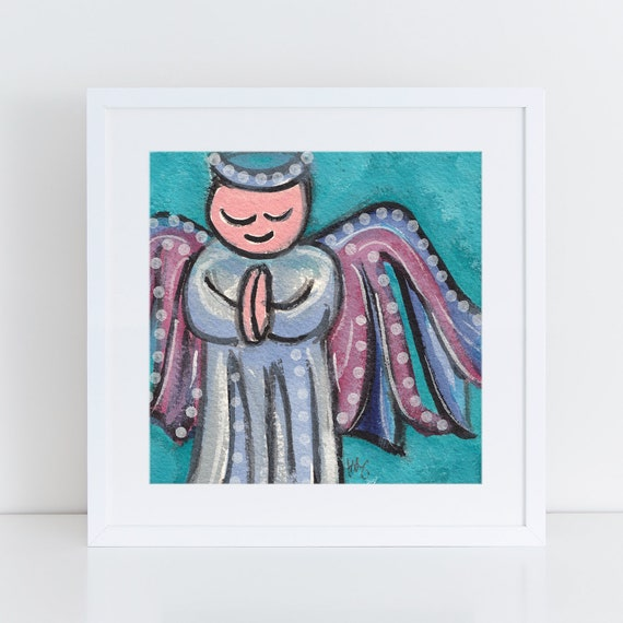 Blue Angel painting, whimsical angel illustration, fun colorful art for the holidays, folk art for angel lover, FREE Shipping