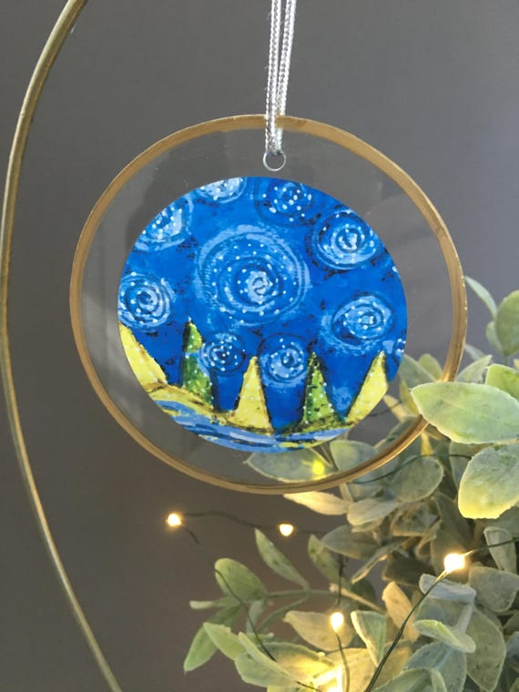 Night sky christmas ornament, blue swirled sky, unique ornament for friends, swirling stars, christmas trees, van gogh inspired illustration