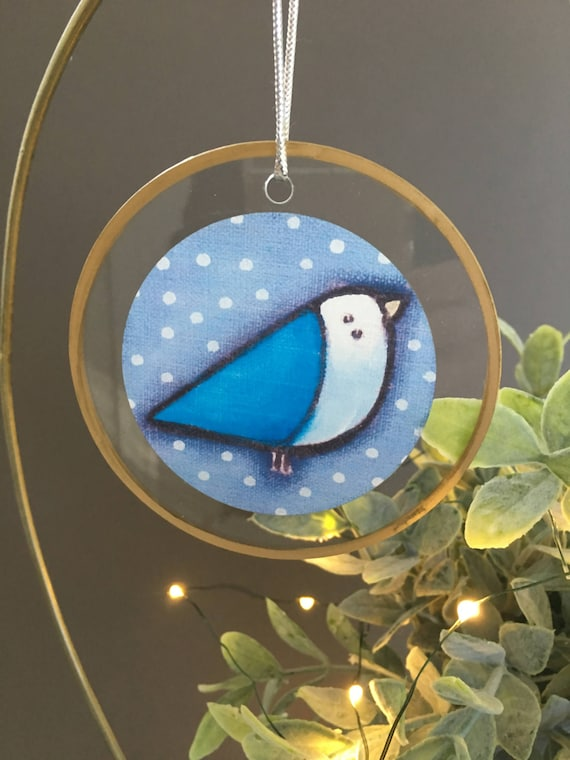Bluebird christmas ornament, unique ornament, housewarming gift for friends, bird lover gift, blue bird ornament illustrated glass ornament