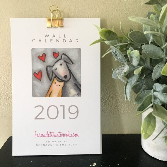 Secret SALE 30% OFF! New 2019 wall calendar with whimsical art, small wall calendar, 2019 mini calendar, fun 2019 calendar, now larger!