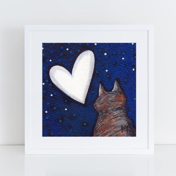 Cat Night Sky art, cat lover gift idea, charming artwork, art for my house, 1st anniversary art,  heart shaped moon,  FREE Shipping