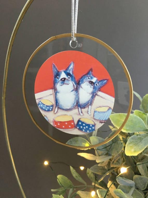 Boston Terriers Christmas ornament, gift for dog lovers, unique ornament, glass ornament, illustrated two boston terriers, dog gift for vet