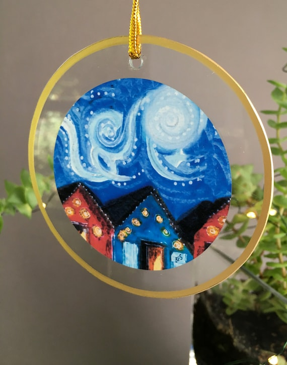 Night sky ornament, blue swirled sky, unique glass ornament for friends, van gogh inspired illustration by Bernadette Artwork, housewarming