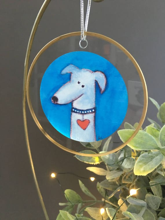 Grey dog glass Christmas ornament, gift for dog lovers, unique ornament handmade ornament glass ornament with illustration, mutt, hound dog