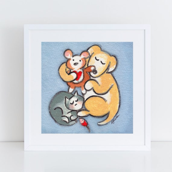 Dog and cat art, best friends illustration, yellow lab and tiger cat, unique artwork, multiple pets for family,  FREE Shipping