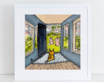 Orange tabby cat painting with rabbits, golden tabby cat looking out the door, cat art for cat lovers, orange cat portrait with pink rabbits