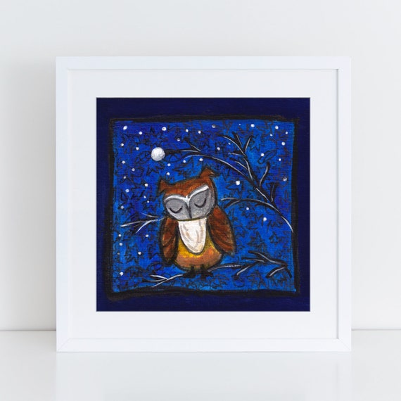 Night owl wall art, van gogh night inspired whimsical artwork painting with blue swirled sky, owl lover art, unique art for wife