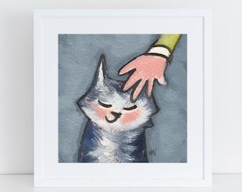 Gray Tabby cat painting, cat art for cat lovers, tabby cat portrait, black and white cat portrait, scratching cat ears, smiling tabby cat