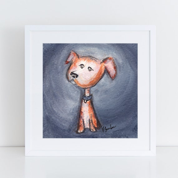 Rescue dog portrait, sweet little mutt illustration, small brown and white dog, sweet little puppy portrait  FREE Shipping