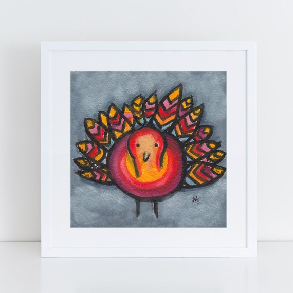 Colorful Turkey painting, whimsical turkey illustration, fun colorful art for the holidays, folk art for turkey lover, FREE Shipping