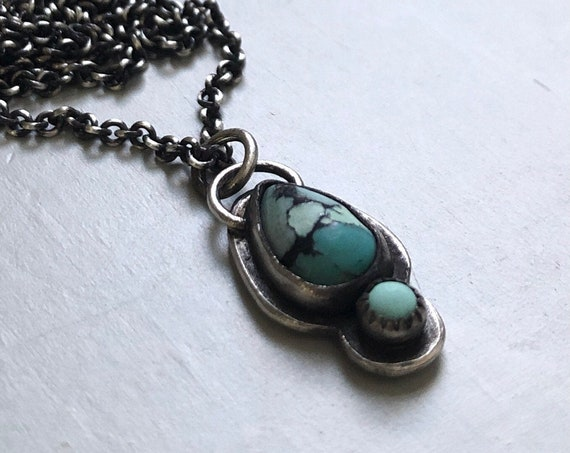 Tiny Handmade Turquoise and Sterling Silver Necklace