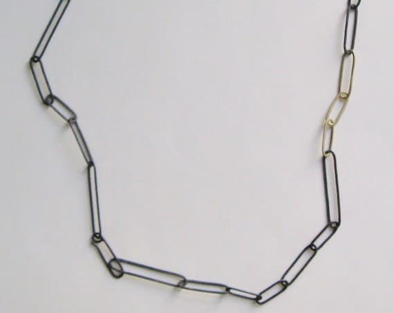 Handmade Sterling Silver and Gold Long Link Necklace