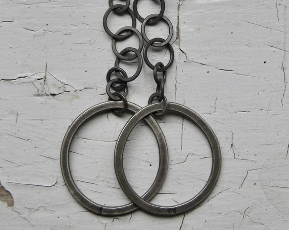 Handmade Chain and Sterling Silver Hoop Earrings