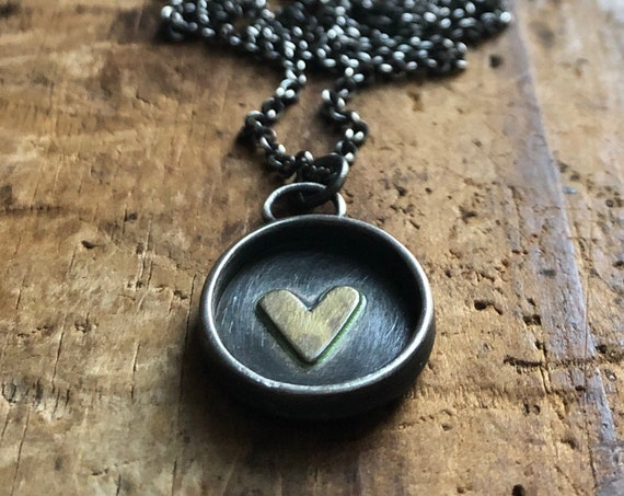 Handmade Sterling Silver and Brass Love Story Necklace