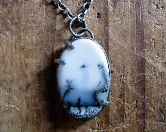 Handmade Dendritic Agate and Sterling Silver Pendant Necklace