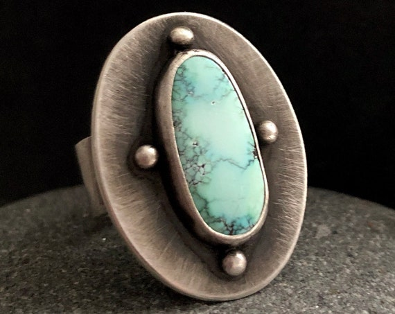 Handmade Sterling Silver and American Turquoise Statement Ring