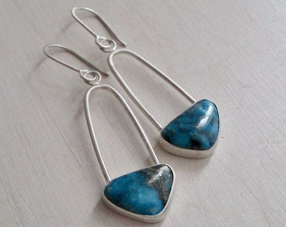 Handmade American Pilot Mountain Turquoise and Sterling Silver Drop Earrings
