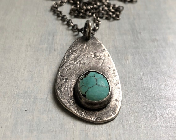 Handmade Sterling Silver and Turquoise Touchstone Necklace