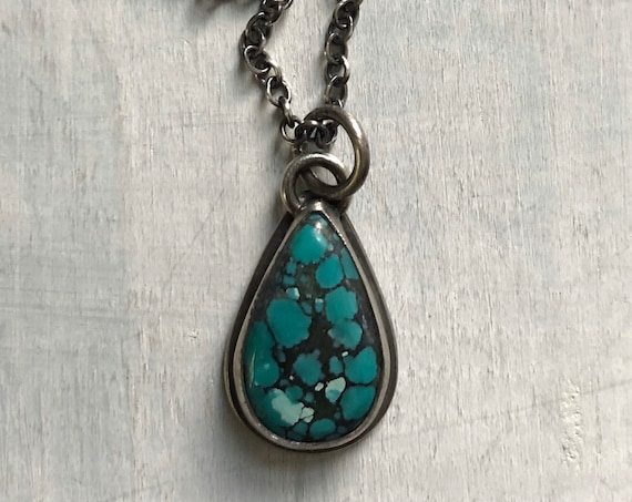 Handmade Tibetan Turquoise and Sterling Silver Pendant Necklace