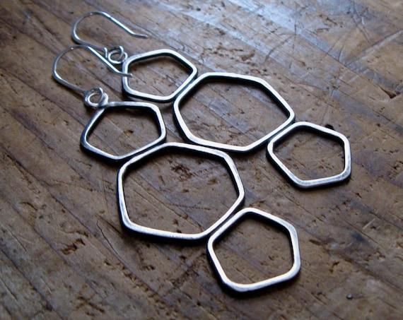 Large Sterling Silver Geometric Earrings