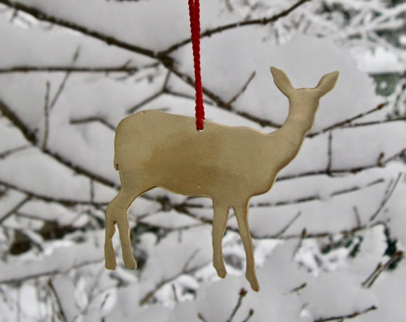 Yellow Brass Doe Deer Ornament
