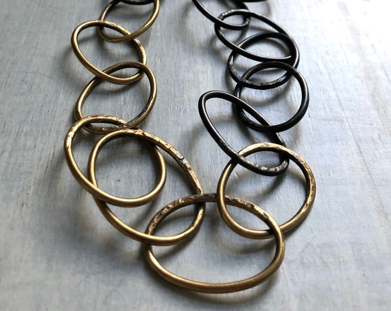 Handmade Sterling Silver and Brass Chunky Chain Necklace