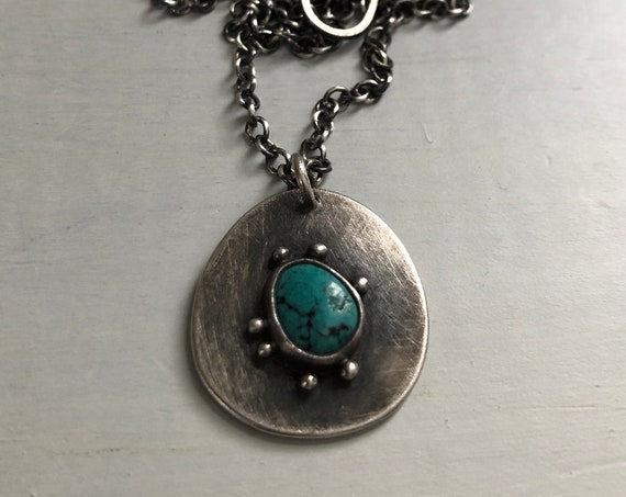 Handmade Sterling Silver and Turquoise Embellished Touchstone Necklace