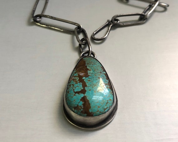 Chunky Handmade American Turquoise and Sterling Silver Statement Necklace