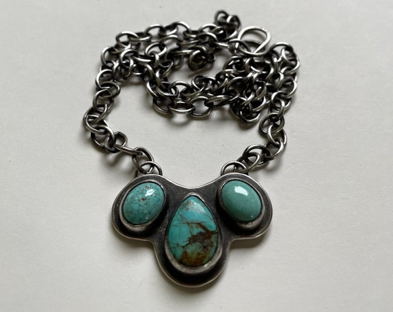 Handmade Turquoise and Sterling Silver Shield Necklace