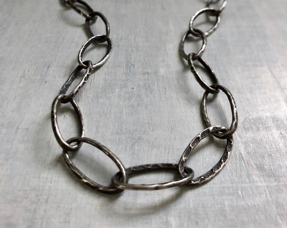 Handmade Chunky Textured Sterling Silver Oval Link Chain
