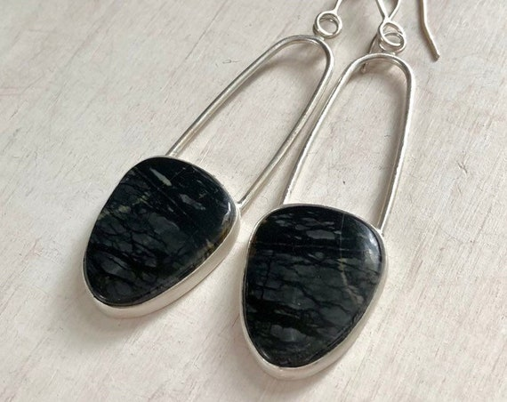 Handmade Picasso Jasper and Sterling Silver Earrings