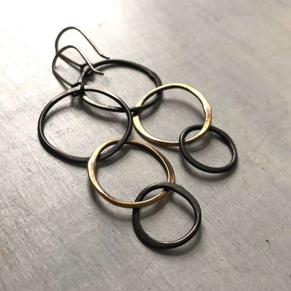 Handmade Sterling Silver and Brass Triple Ring Earrings