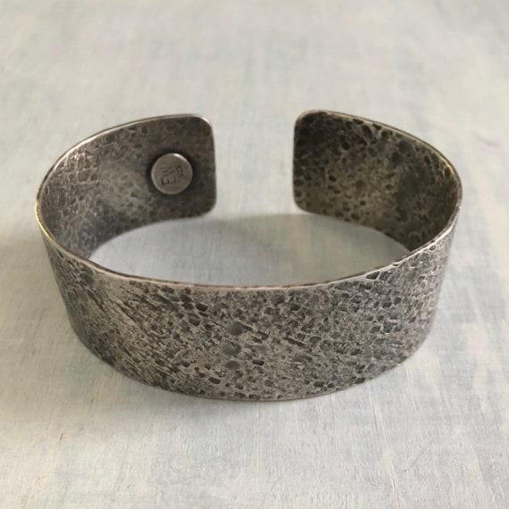 Handmade Sterling Silver Extra Wide Textured Cuff Bracelet size large