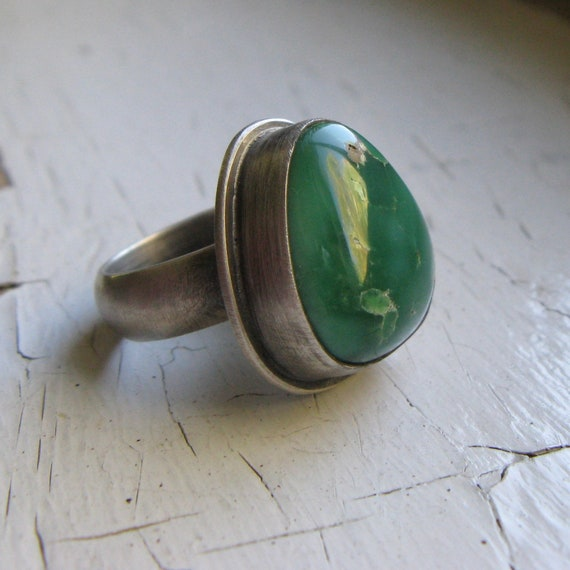 SALE Broken Arrow Variscite and Sterling Silver Statement Ring