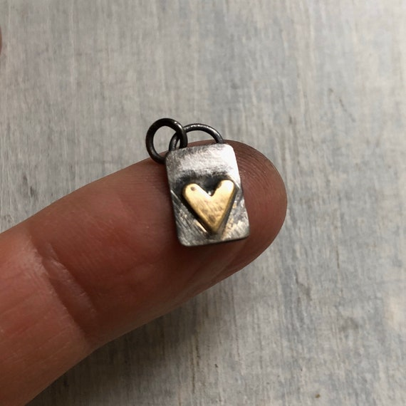 Extra Tiny Handmade Sterling Silver and Brass Heart Necklace