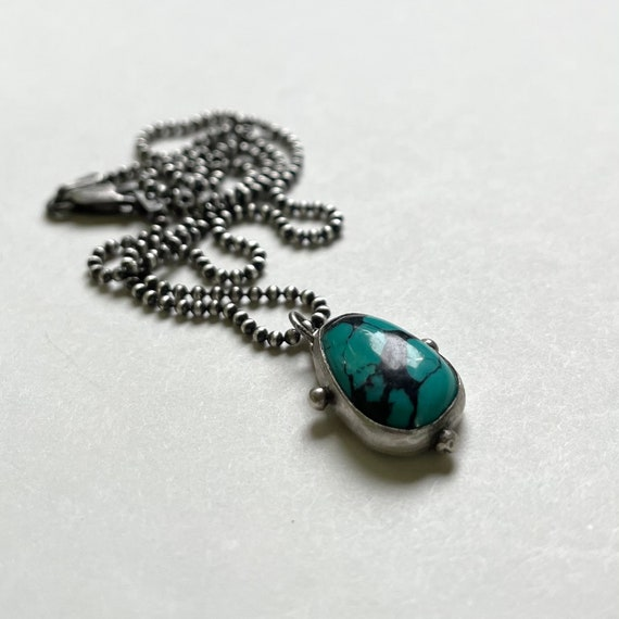 Tiny Handmade Embellished Sterling Silver and Turquoise Necklace