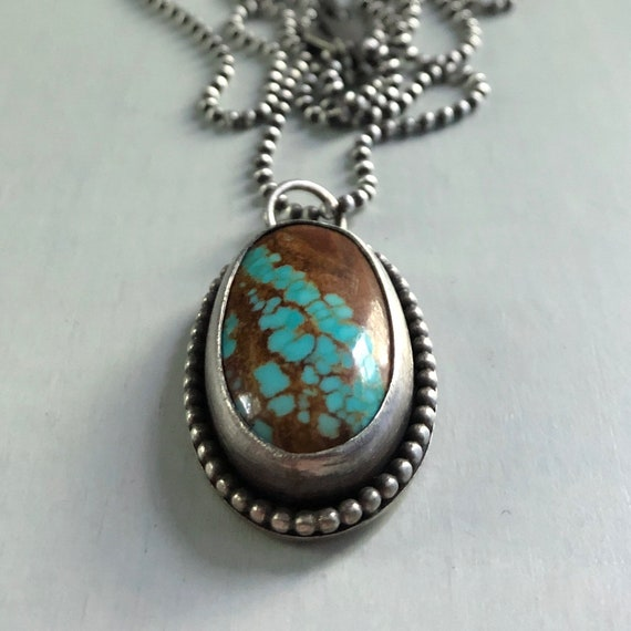 Handmade Ribbon Turquoise and Sterling Silver Necklace