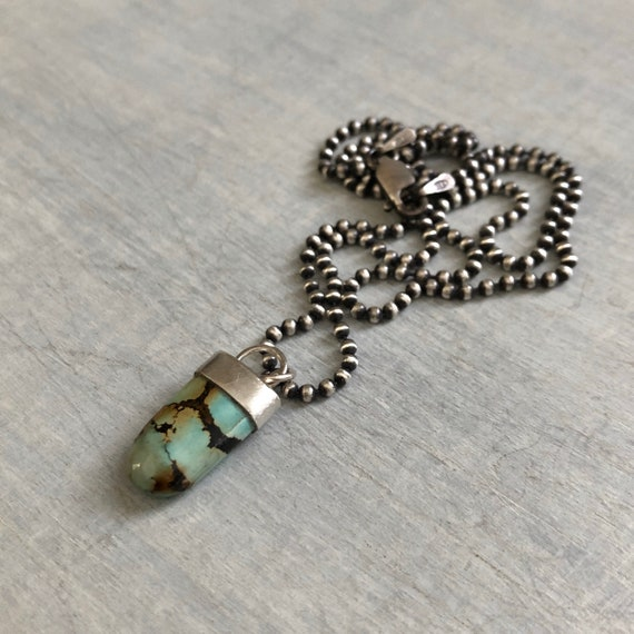 Handmade Sterling Silver and Turquoise Pendant Necklace