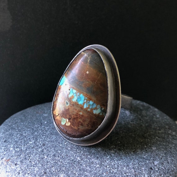 Handmade Sterling Silver and Ribbon Turquoise Ring