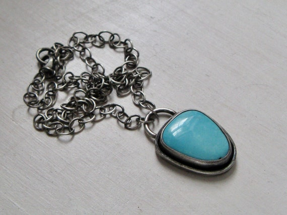 Handmade American Kingman Turquoise and Sterling Silver Pendant Necklace
