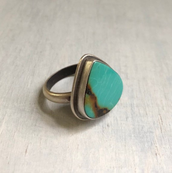 Handmade Turquoise and Sterling Silver Statement Ring