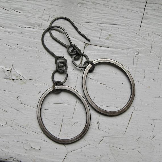 Handmade Chain and Sterling Silver Hoop Earrings