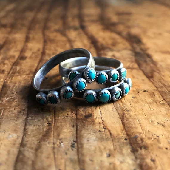 Handmade Sterling Silver and American Turquoise Companion Ring