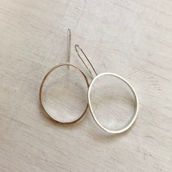 Handmade Sterling Silver Contemporary Drop Earrings