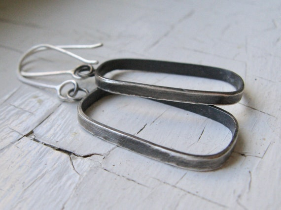 Handmade Sterling Silver Rounded Rectangle Dangle Earrings